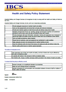 Health Safety Policy Statement